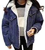 Aishang Women's Classic Loose Lapel Fleece Lined Denim Jackets Coats (X-Small, Blue)