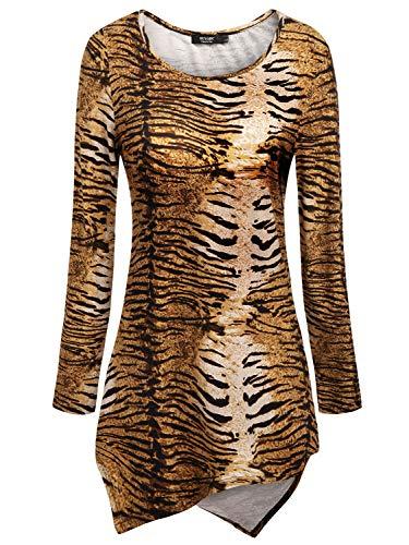 Tunic Print Animal Blouse - Animal Print Tops,Women's Casual Tunic Top and Blouses Womens Asymmetrical Hem Tunics Shirt Blouse Hankerchief Hemline Long Sleeve Round Neck Tee T Shirts 2XL XX-Large Tiger