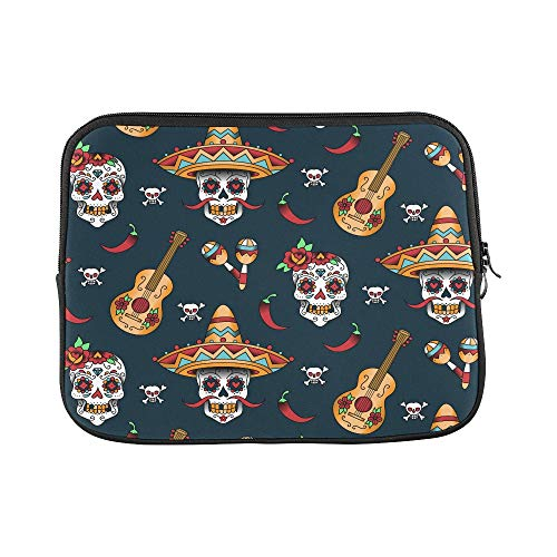 Design Custom Mexican Sugar Skulls with Chili Pepper Sleeve Soft Laptop Case Bag Pouch Skin for MacBook Air 11