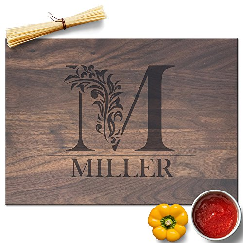 Froolu Cute Monogram custom cheese board for Initial Engraved Birthday Gifts (Personalized Cheese Board)
