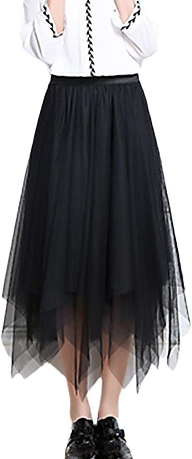 Mujer Faldas Verano Malla Falda Larga Cintura Alta Asimetricas ...