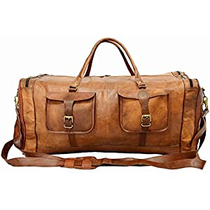 Real Goat Leather Large Handmade Travel Luggage Bags in Square Big bag 30''inch
