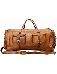 Real Goat Leather Large Handmade Travel Luggage Bags in Square Big bag 30inch