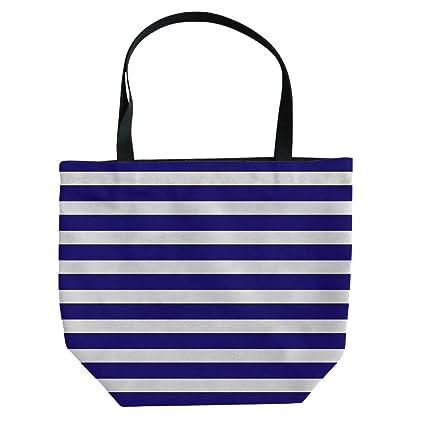 57c1d65c889cb2 Handbag Canvas Shoulder Bag Leisure Fashion,Striped,Nautical Marine Style Navy  Blue and White