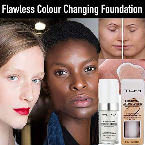 Concealer Cover,TLM Flawless Colour Changing Warm Skin Tone Foundation Makeup Base Nude Face Moisturizing Liquid Cover Concealer SPF15
