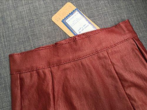 YiLianDa de Aspecto Brillante Piel Sintética Pantalones Cortos PU Mini Falda Rojo