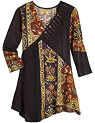 Parsley & Sage Womens Tunic Top - Floral Tapestry Patchwork Long Sleeve Blouse