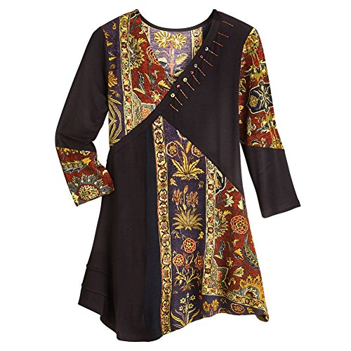 Parsley & Sage Women's Tunic Top - Floral Tapestry Patchwork Long Sleeve Blouse- 2X - Floral Tapestry Top