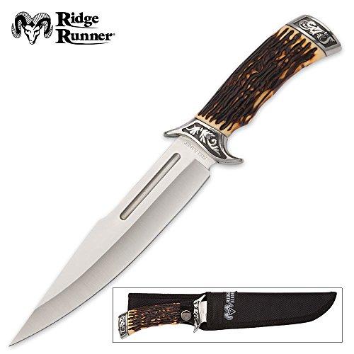 Ridge Runner Pronghorn Prairie Bowie Knife and Sheath - Faux