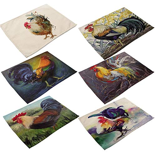 DENTRUN Rooster Cotton Linen Place Mats Set of 6,Oil Painting Cock Pattern Dining Table Mats,Heat-Resistant Non-Slip Insulation Table Runner for Home Kitchen Office Decor -