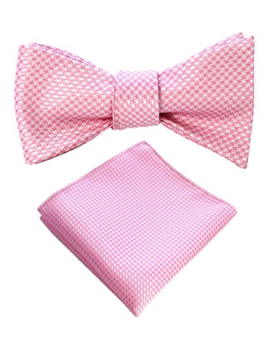 JEMYGINS Original Pink Mens Bowtie Self Bow Tie & Pocket Square Set (01#16) (Bowties Pink)