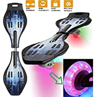 Tec Tavakkal® Wave Board, Skate Board 31 x 8 Inch with Carry Bag LED Flash Colourful Lights on Wheels Upto 100 KG(Assorted Color)