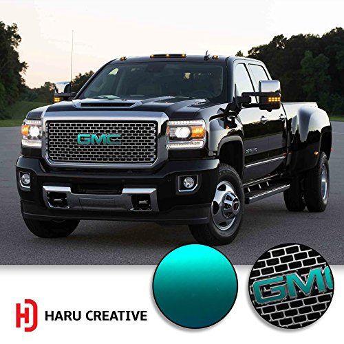 - Haru Creative - Grille Hood Trunk Tailgate Emblem Letter Overlay Vinyl Decal Compatible Fits GMC - Metallic Matte Chrome Teal