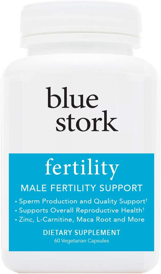 Blue Stork Fertility Male Fertility Support, for Sperm Production, Reproductive Health, More. -60 Vegetarian Capsules