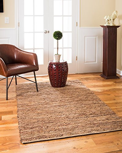 Natural Area Rugs Handmade Adore Collection 8 Feet by 10 Feet Brown Leather Rug, (8' x 10