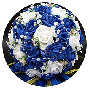 Barry-Home Bridal Bouquet Artificial Rose Flowers Pearls Bride Bridal Lace Accents Wedding Bouquets with Ribbon 83