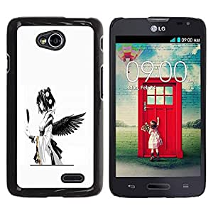 Be Good Phone Accessory // Dura Cáscara cubierta Protectora Caso Carcasa Funda de Protección para LG Optimus L70 / LS620 / D325 / MS323 // Anime Angel Black Feather Girl Japanese