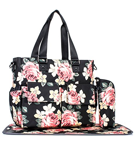 Womens Large Floral Diaper Bag Waterproof Tote Messenger Bag Changing Pad Black