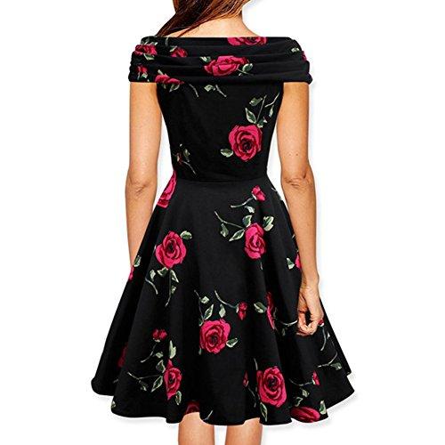 Juleya Vestidos Mujer Vestido Retro Vintage Vestidos de Fiesta de A línea Vestido de Coctel Slim fit con Flores Imprimir Vestido de oscilación Manga Corta ...