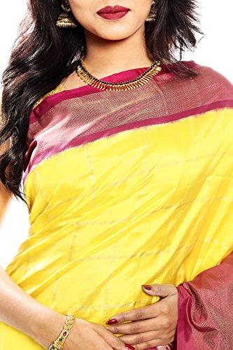 Mandakini — Indian Women's Pochampally - Handloom - Ikat Pure Silk Saree (Yellow ) (MK315) by Mandakini (Image #2)