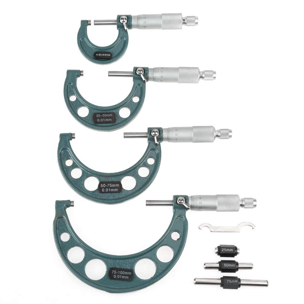 Lot de 4 microm/ètres calibre d/'/épaisseur ext/érieur 0-100 mm avec /étui en bois