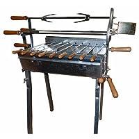 Spießgrill XXL Edelstahl silber Skewer Grill Garten Balkon ✔ eckig ✔ stehend grillen ✔ Grillen mit Holzkohle