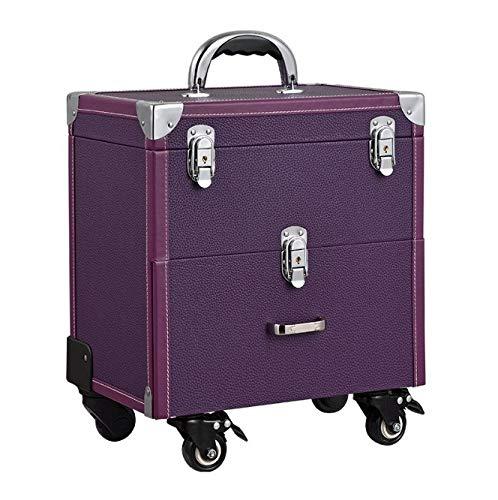 化粧箱、大容量ダブルポール化粧品ケース、ポータブル旅行化粧品袋収納袋、美容化粧ネイルジュエリー収納ボックス (Color : Purple) B07NQ4HX2F Purple