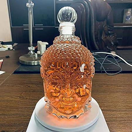 Botella del cráneo de los decantadores del licor,Decantador de cráneo,Jarrón creativo,Botella de vino de cristal,Botella de whisky,Jarra de vino jarra,Botellas de vidrio de 750 ml (Sakyamuni)