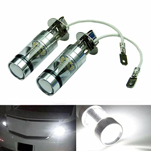 Ecosin® 2 Pcs 100W H3 LED bulb 20 SMD Car Fog light Cree 12V ~ 24V 360 Degrees White 6000K pure alloy (Led Fog Lights For Cars 6000k compare prices)