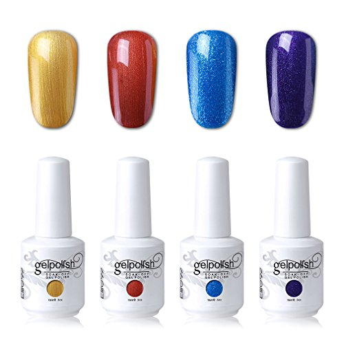 Elite99 Soak Off Gel Polish Lacquer UV LED Nail Art Manicure Kit 4 Colors Set LM-C156 (20pcs Gel Remover Wraps)