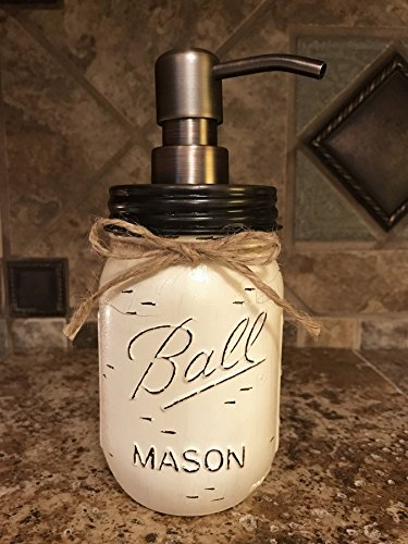 Soap Dispenser Mason Canning JAR Hand PAINTED & Distressed Ball Pint ~ OIL RUBBED BRONZE ~ Kitchen, Bathroom, Lotion ~Gray Grey Seafoam Light Blue Turquoise Pewter White Cream Tan Brown Yellow (Pewter Dispenser Soap Bathroom)