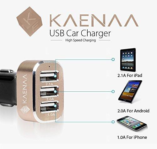 KAENAA™ [Lifetime ] 3 USB Port Car Charger-[Black / Gold]...