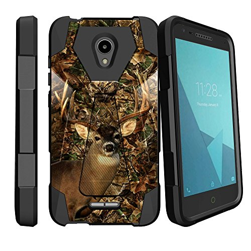 MINITURTLE Case Compatible w/ Alcatel idealXCITE Case / Alcatel Verso / Alcatel CameoX / Alcatel Raven / Alcatel Fiji Case Shock Resistant Hybrid Stand Case w/ Dual Layer - Deer Hunting Camo