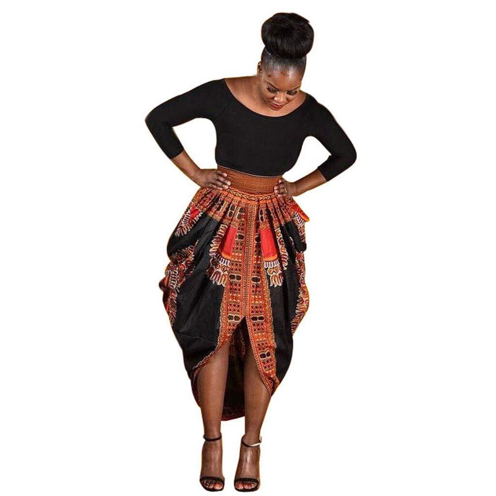 WatFY Dress Women Casual Skirt Irregular African Print Ball Gown Casual Long Sleeve Sundress Mini Dresses (Yellow, XL) by WatFY