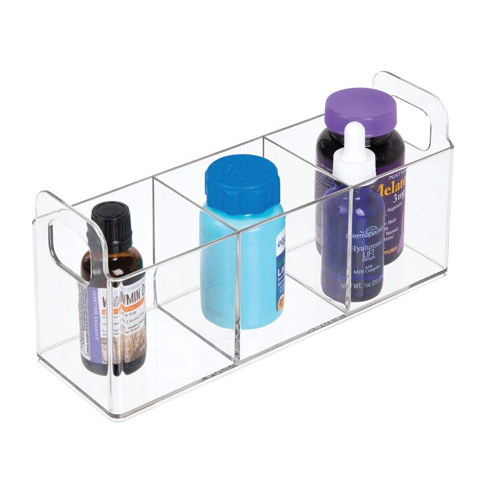 mDesign Small Makeup Organiser Tote With Handles Makeup Brush Holder for Bathroom Vanity Countertops Clear 3 Compartments