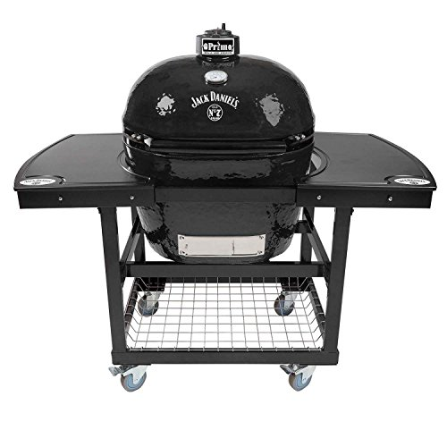 Primo Oval XL 400 Ceramic Smoker Grill Jack Daniel's Edition On Cart with 1-Piece Jack Daniel's Island Top by Primo