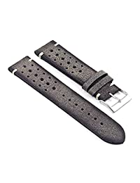 DASSARI Speedster Italian Distressed Leather Perforated Rally Watch Strap in Grey 22mm