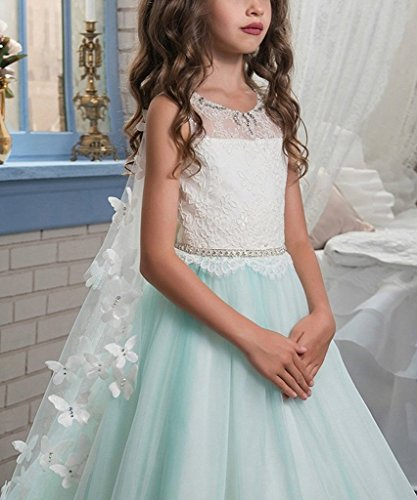 Banfvting Long Cape Detachable Train Girls Prom Dress Party Gown With Handmade Flowers by Banfvting (Image #5)