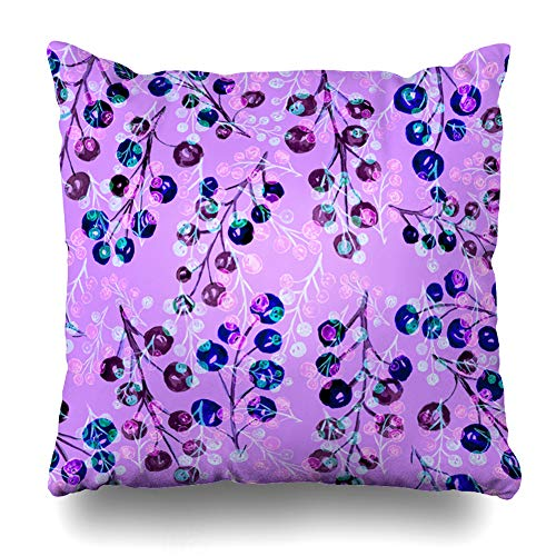 (Ahawoso Throw Pillow Cover Raspberry Blue Berry Watercolor Berries Fruity Nature Pink Black Christmas Color Dessert Design Home Decor Zippered Pillowcase Square 16x16 Decorative Cushion Case)