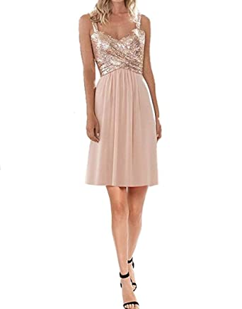 7d70fdd1ee0 Women s Sequin Chiffon Bridesmaid Dress Long Prom Dress A Line Rose Gold  Short US0