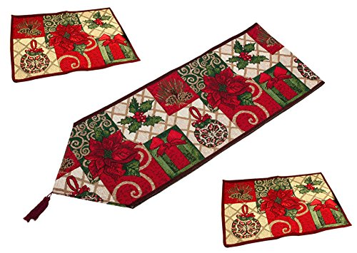 NKTM Cotton Decorative Woven Western Table Runner and Cardinal Placemat for Christmas Thanksgiving Day Easter Beautiful Flower Pattern 3 Packs (1 Table Runner+2 Table Mats ) 13.3 X 70.88 Inch