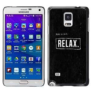 FECELL CITY // Duro Aluminio Pegatina PC Caso decorativo Funda Carcasa de Protección para Samsung Galaxy Note 4 SM-N910 // Quote Text Black Motivational