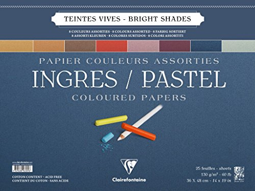 Clairefontaine Ingres Pastel Colour Wirebound Pad, 130 g, 36 x 48 cm, 25 Sheets, Assorted Bright Colours