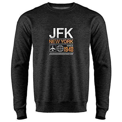 - JFK Airport Code New York Since 1948 Travel Heather Charcoal Gray L Mens Fleece Crew Sweatshirt