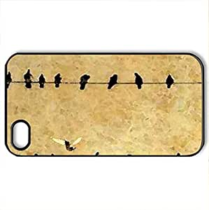 Birds on a Wire - Case Cover for iPhone 4 and 4s (Birds Series, Watercolor style, Black)
