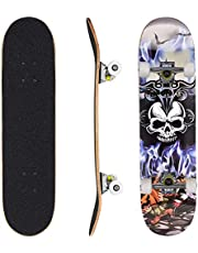 Skateboard Complete Standard Skate Board 7 Layer Canadian Maple Double Kick Concave Durable Stable for Kids Youth Adult Teens Beginner Pro 79cm*20cm