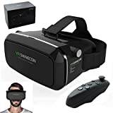 ShopyBucket Virtual reality VR headset and bluetooth controller VR Shinecon Google Cardboard for IOS and Android phones adjustable to fit most sizes of phones for a 3D photo and video experience