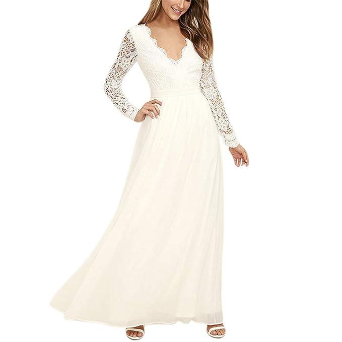 a1905da52da1d1 Oliviavan Kleider,Damen Kleider Chiffon Spitze Langarm weißes Kleid  Ausschnitt Kleid Maxi Elegant Lang Spitze
