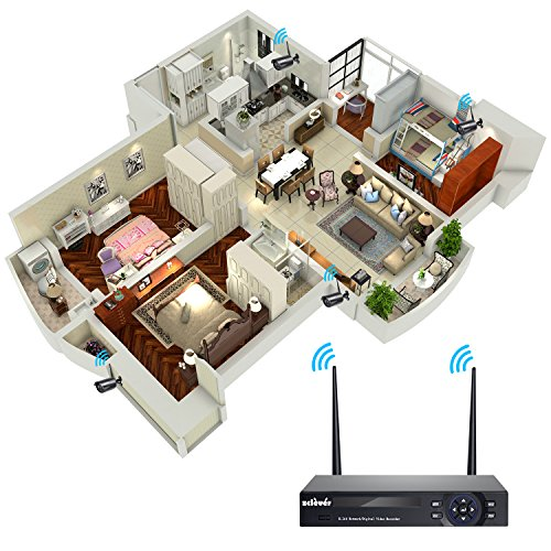 Zclever Wireless Security Camera System 4ch 720p Wifi Nvr