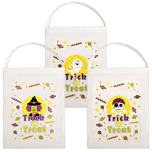 Personalized Halloween Candy Bag (15x11.4 inch, Pack of 3) Trick or Treat Bag with Ghost Wizard Skull for Goody Halloween Costume Party Favors Decorations Make up for Kids Boys (Famous 80's Halloween Costume)